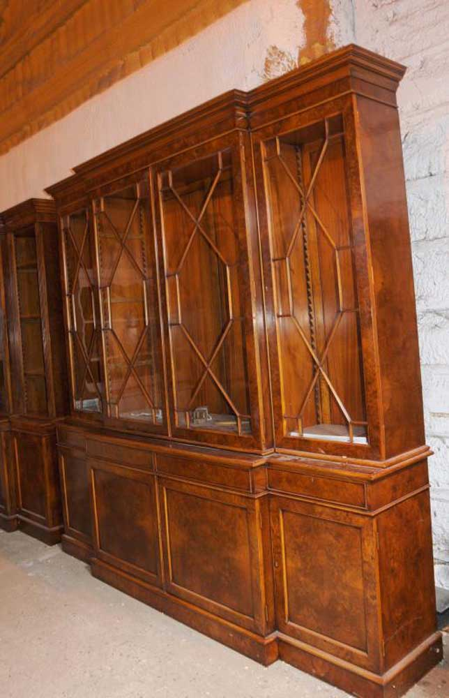 Walnut Victorian Breakfront Bookcase Chippendale Bookcases Furniture