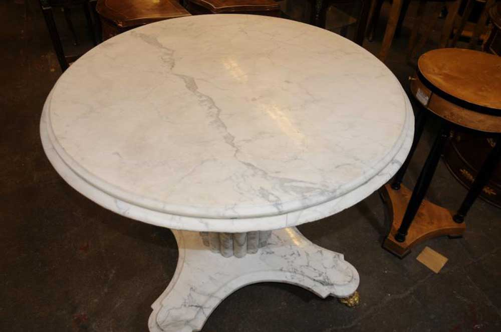 White Italian Marble Centre Table Round Dining Tables