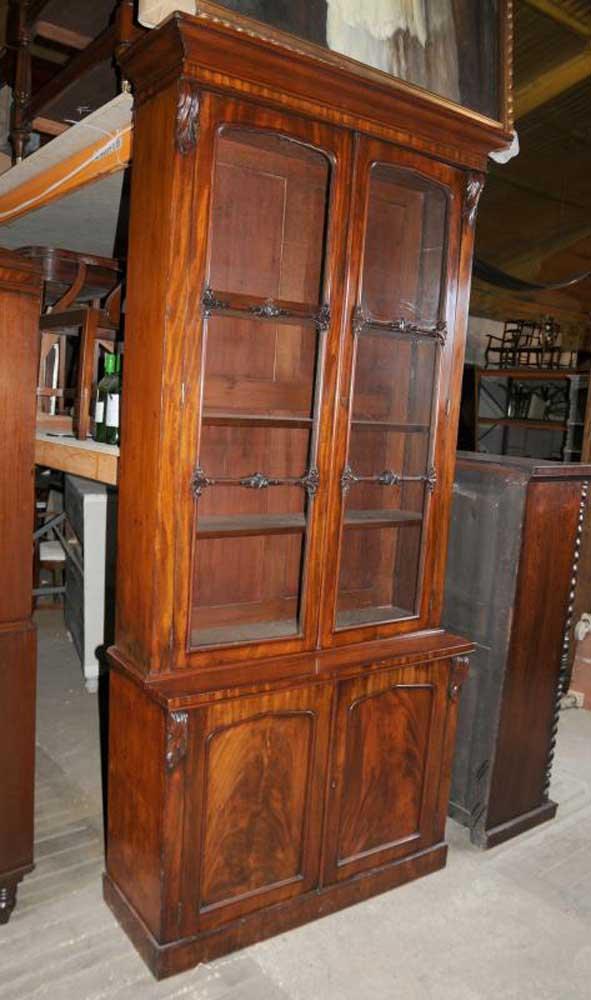 William Iv Mahogany Glazed Bookcase Cabinet Bookcases