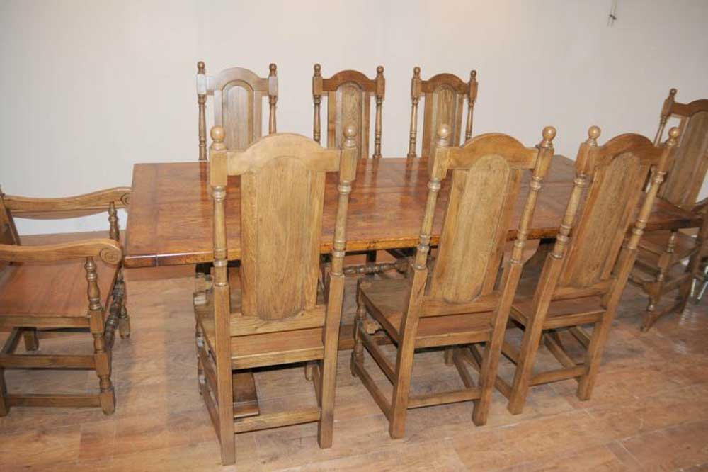 William Mary Chair Farmhouse Refectory Table Dining Set