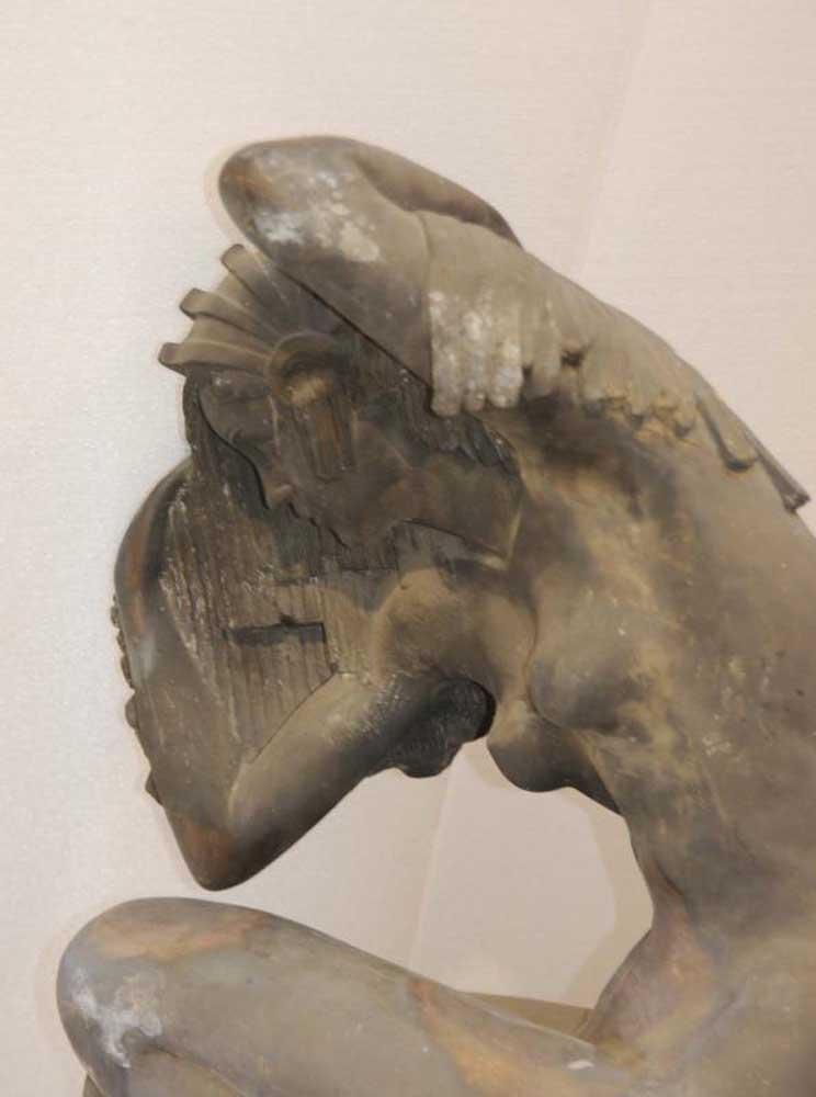 Xl Antique Bronze Deco Mermaid Statue Figurine