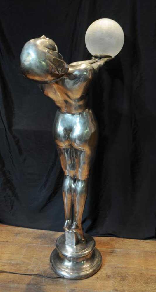 Xl Silver Bronze Art Deco Biba Lamp Floor Light Lamps Statue