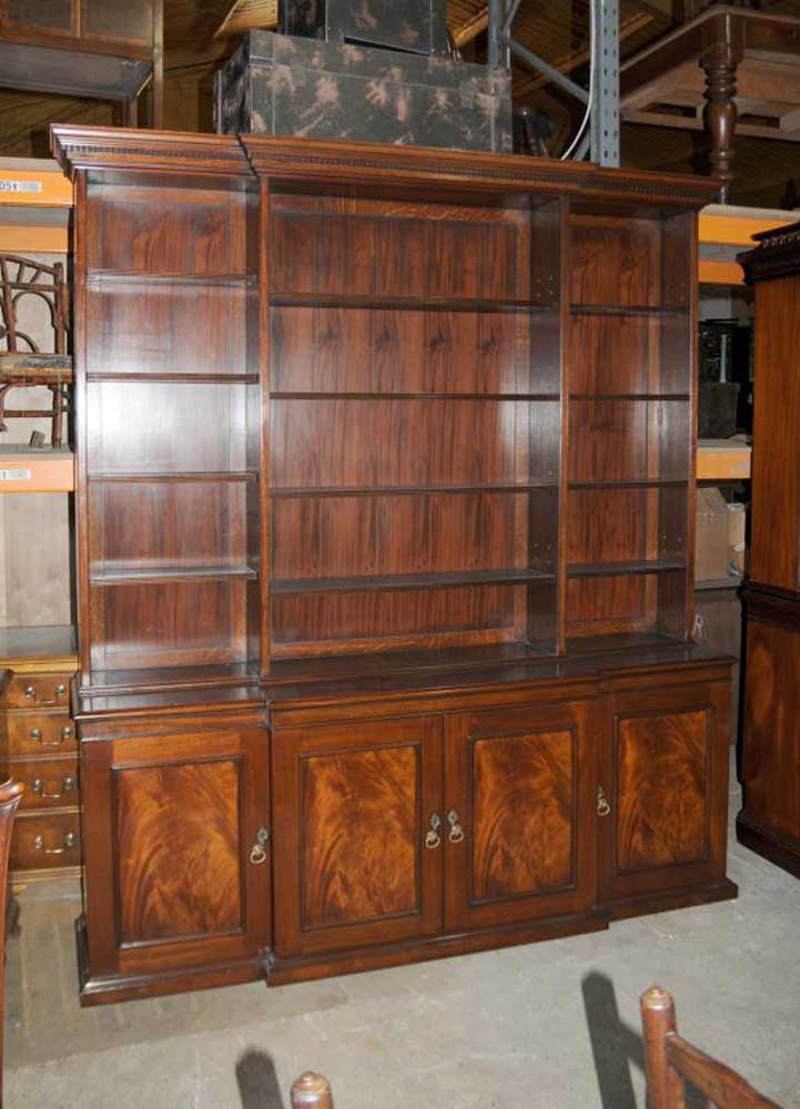 Xl Victorian Breakfront Open Bookcase Cabinet Bookcases