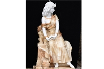 Hand Carved Italian Marble Maiden Statue