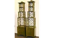 Pair Chinese Lacquer Etagere Bookcases