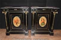 Pair Antique French Cabinets - Ebonized Painted Plaques Credenza Sideboard