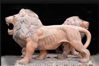 Pair Lifesize Pink Marble Lions