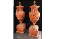 Pair Large English Terracotta Garden Urns
