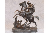Bronze Hunt Statue by Barye
