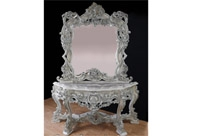 Painted Italian Rococo Table and Mirror