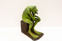 Bronze Frog Thinker Statue