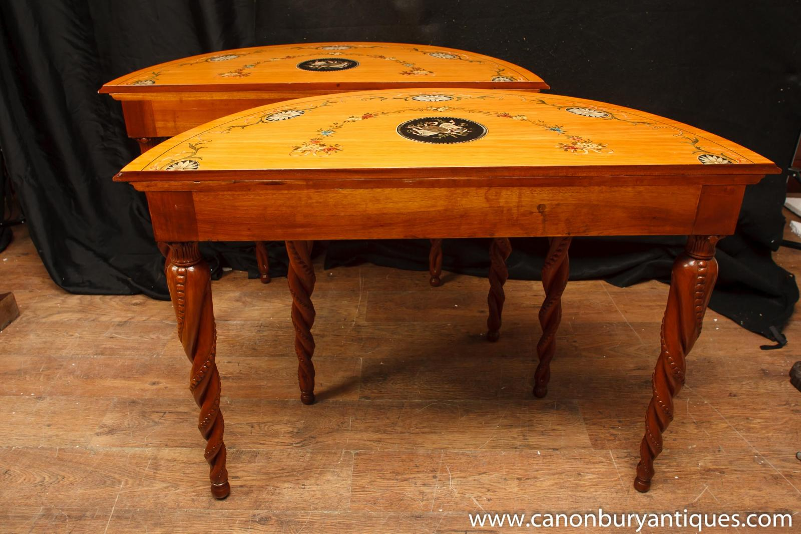 Pair chippendale demi lune console tables carved base ebay for Table demi lune extensible
