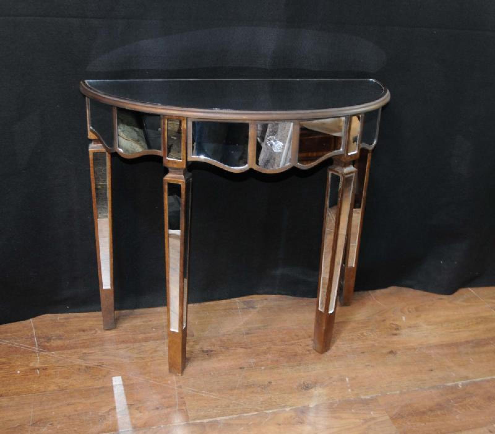 Mirrored Console Table: Mirrored Console Table Art Deco Demi Lune Tables