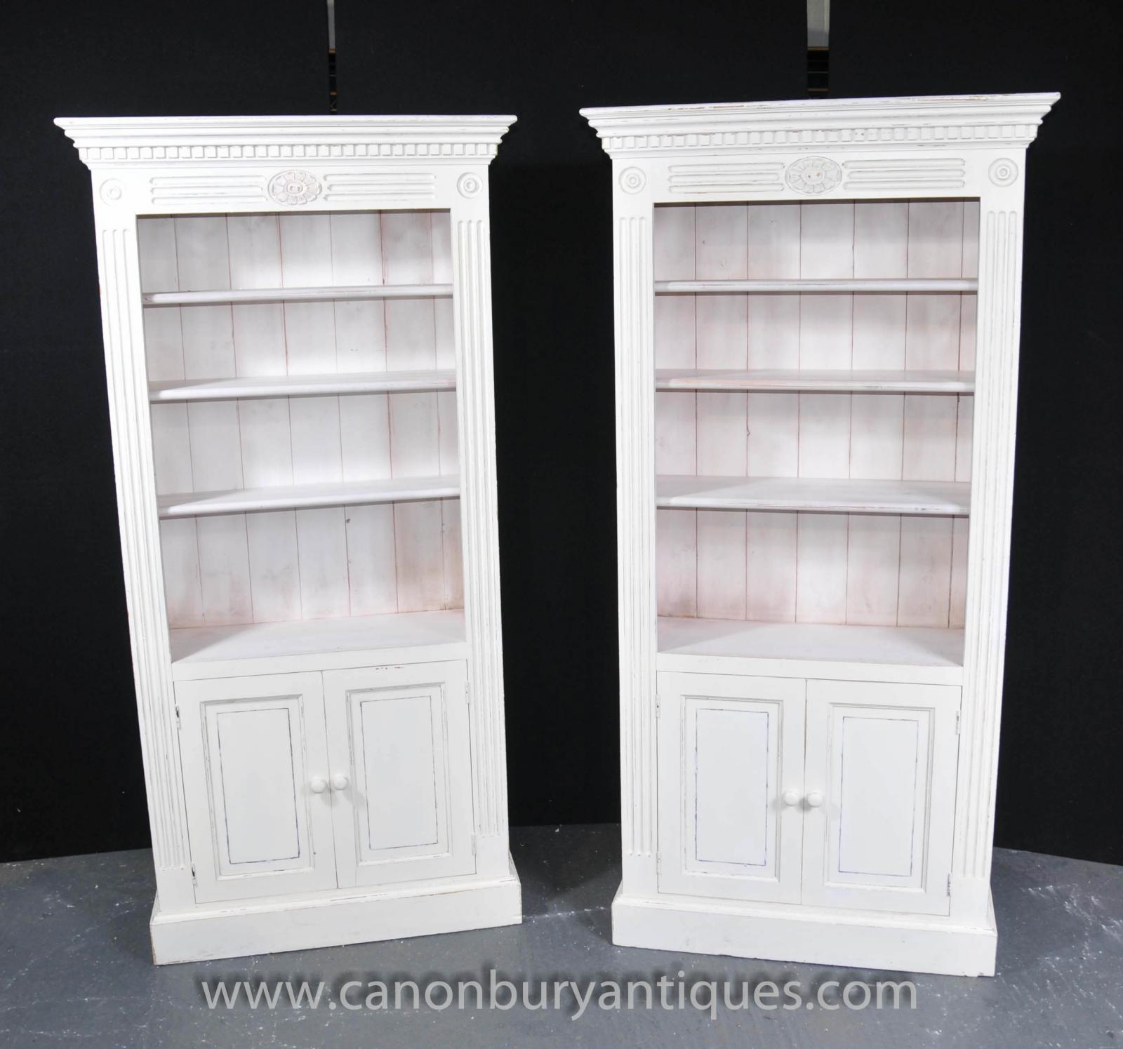 Pair Painted Kitchen Oak Dresser Cabinets Potboard
