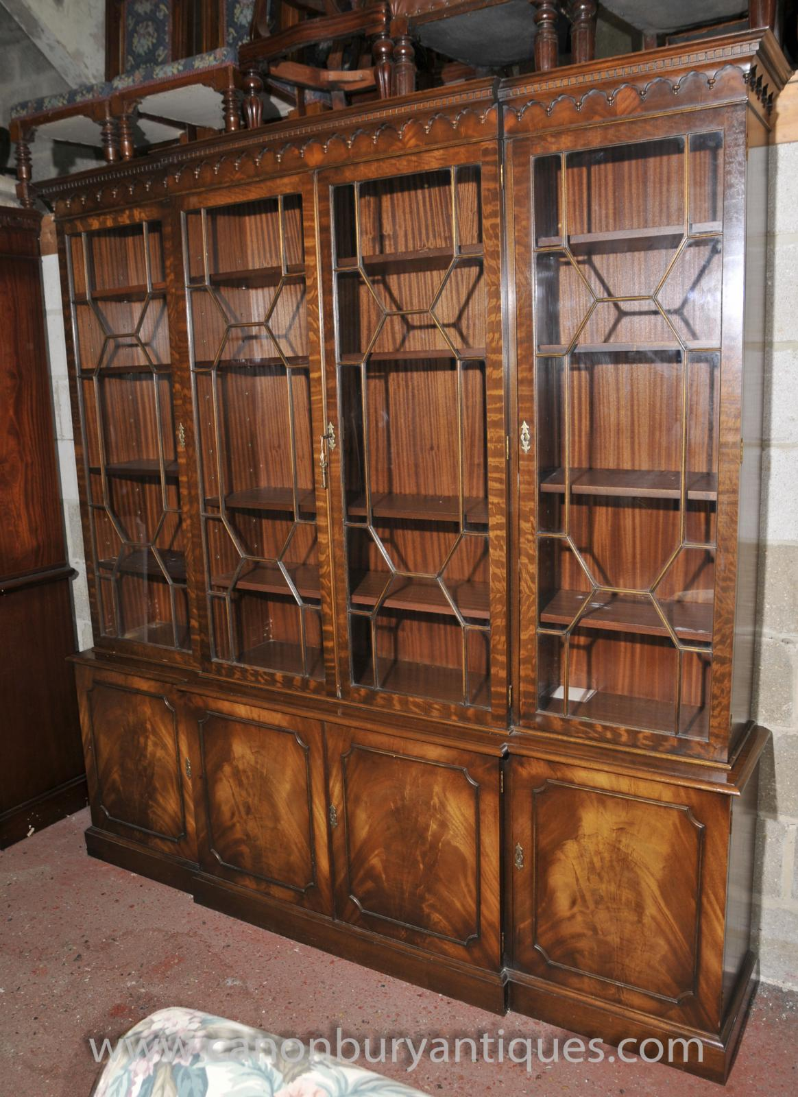 Store Categories - Victorian Breakfront Bookcase Shelf Unit Display Cabinet Mahogany
