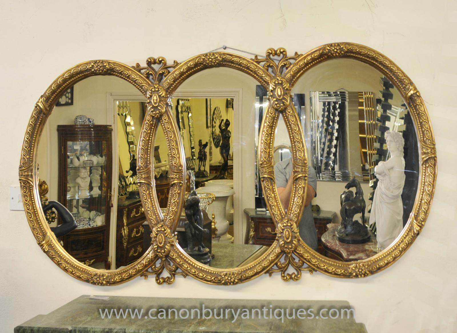 french louis xvi triple oval gilt mirror glass mirrors