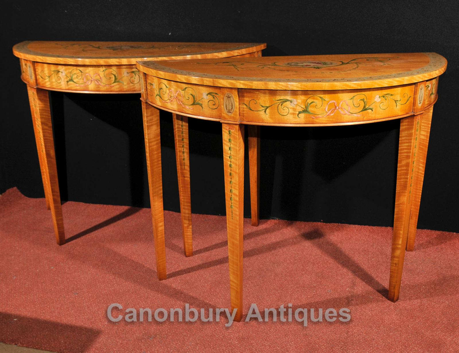 pair adams console tables regency demi lune painted satinwood furniture ebay. Black Bedroom Furniture Sets. Home Design Ideas