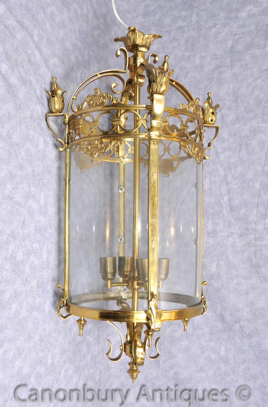 French Empire Brass Lantern Light Chandelier Cieling