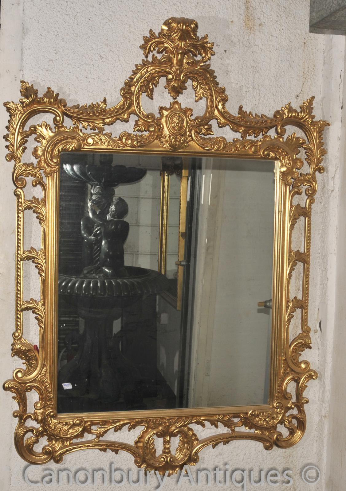 Large chippendale rococo gilt pier mirror glass mirrors ebay for Tall glass mirror