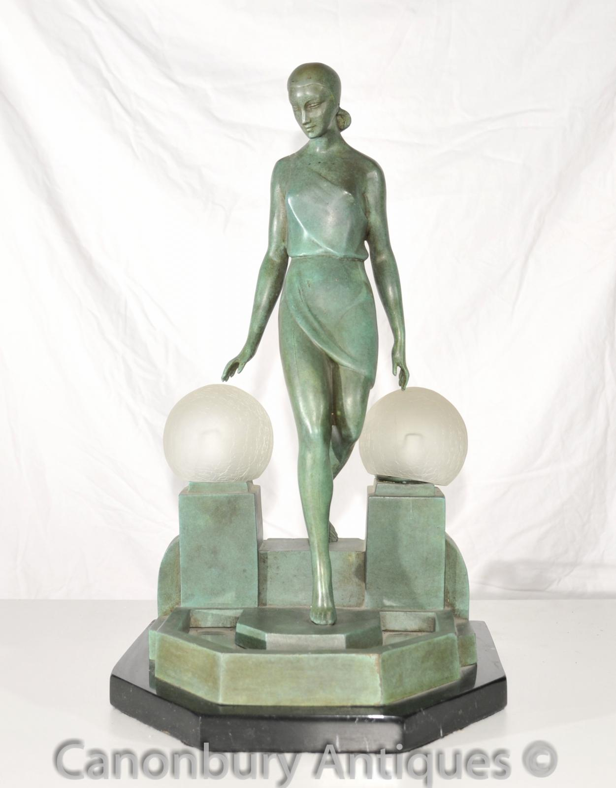 original art deco bronze figurine lamp signed fayral antique statue ebay. Black Bedroom Furniture Sets. Home Design Ideas