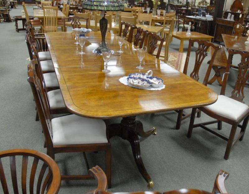 Photo of 10 foot English Regency Walnut Dining Pedestal Table