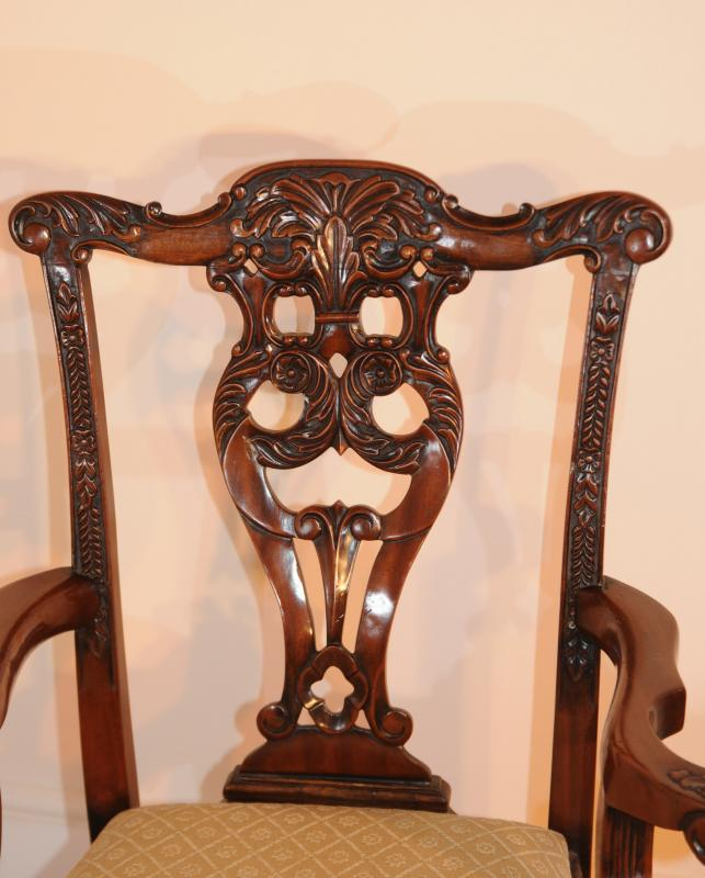 Photo of 10 Mahogany Chippendale Dining Chairs Chair Carved