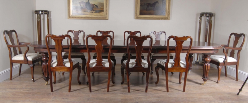 14 Foot Victorian Dining Table 10 Queen Anne Chairs EBay