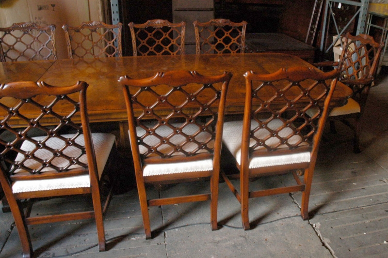 14 Ft Regency Dining Table 8 Gothic Chippendale Chairs Set