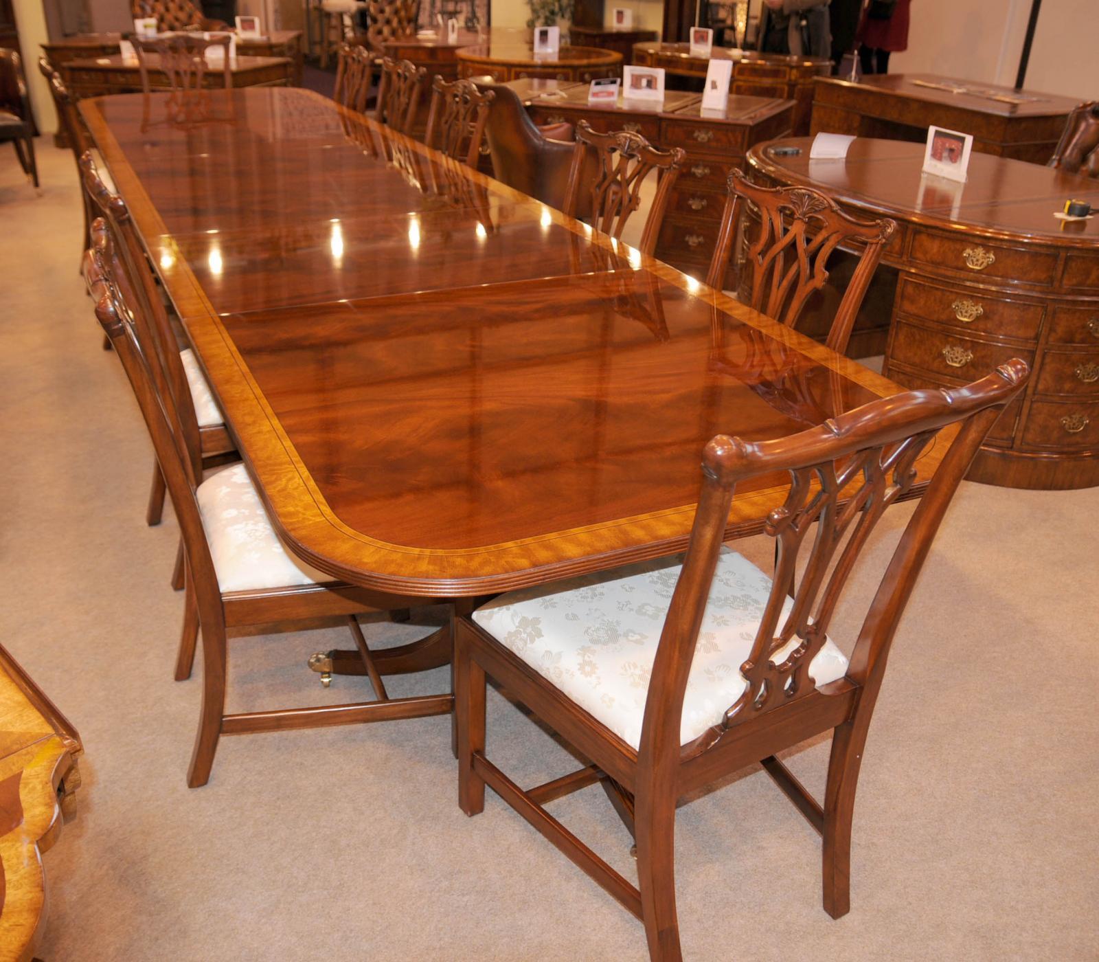 16 Ft Regency Dining Table Triple Pedestal Mahogany Diner | EBay