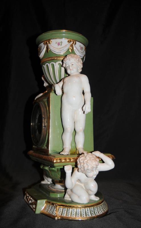 Photo of 1german Dresden Porcelain Cherub Clock Mantle Clocks