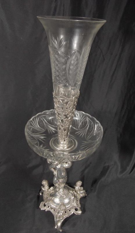 Photo of 2.5 ft English Silver Plate Cherub Bowl Epergne Vase