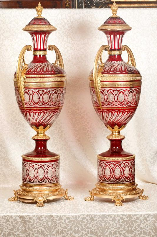 Photo of 5ft Pair Empire Amphora Vases Urns Glass Ormolu French Architectural