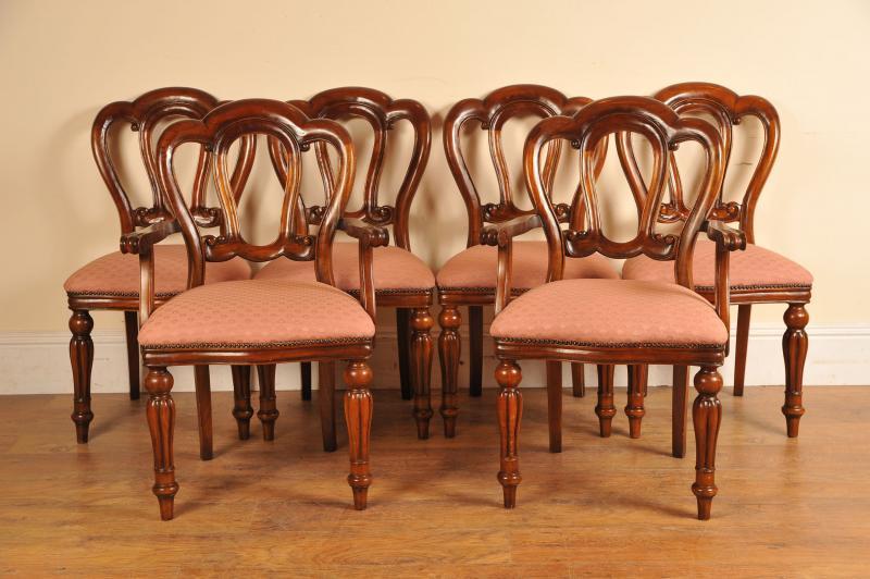 mahogany victorian dining chairs set six balloon back diners ebay