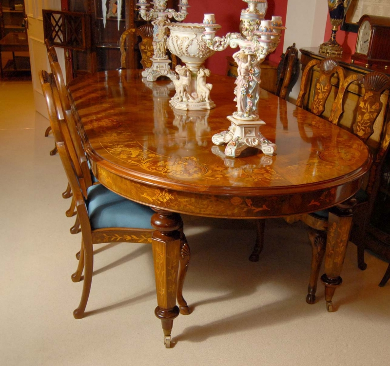 8 Foot Italian Marquetry Dining Table 8 Queen Anne Chairs EBay