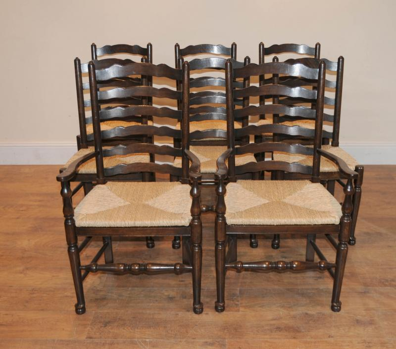 Oak Kitchen Chairs: 8 Solid Oak Pad Foot Ladderback Kitchen Chairs