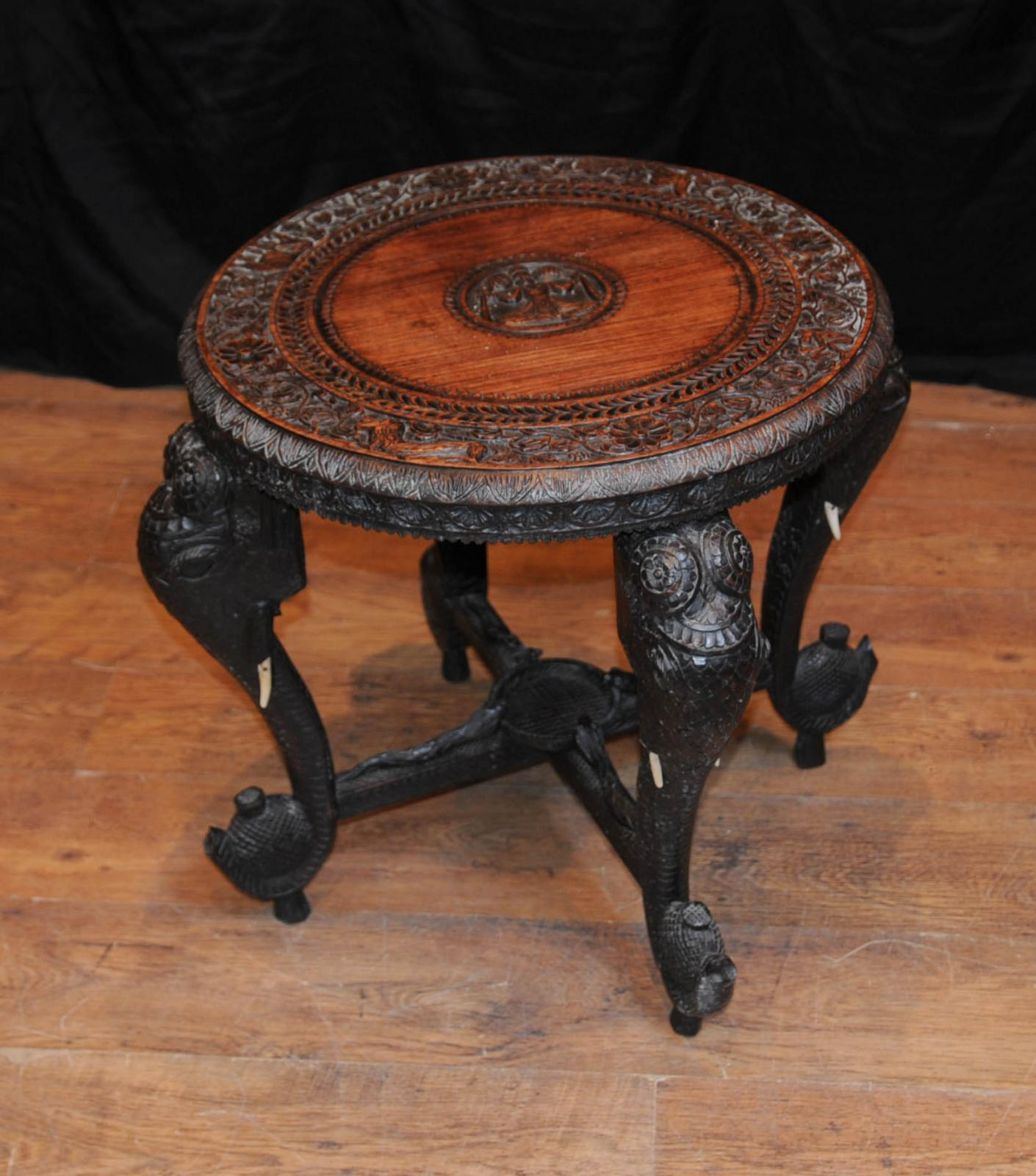 Antique burmese hand carved elephant side table coffee
