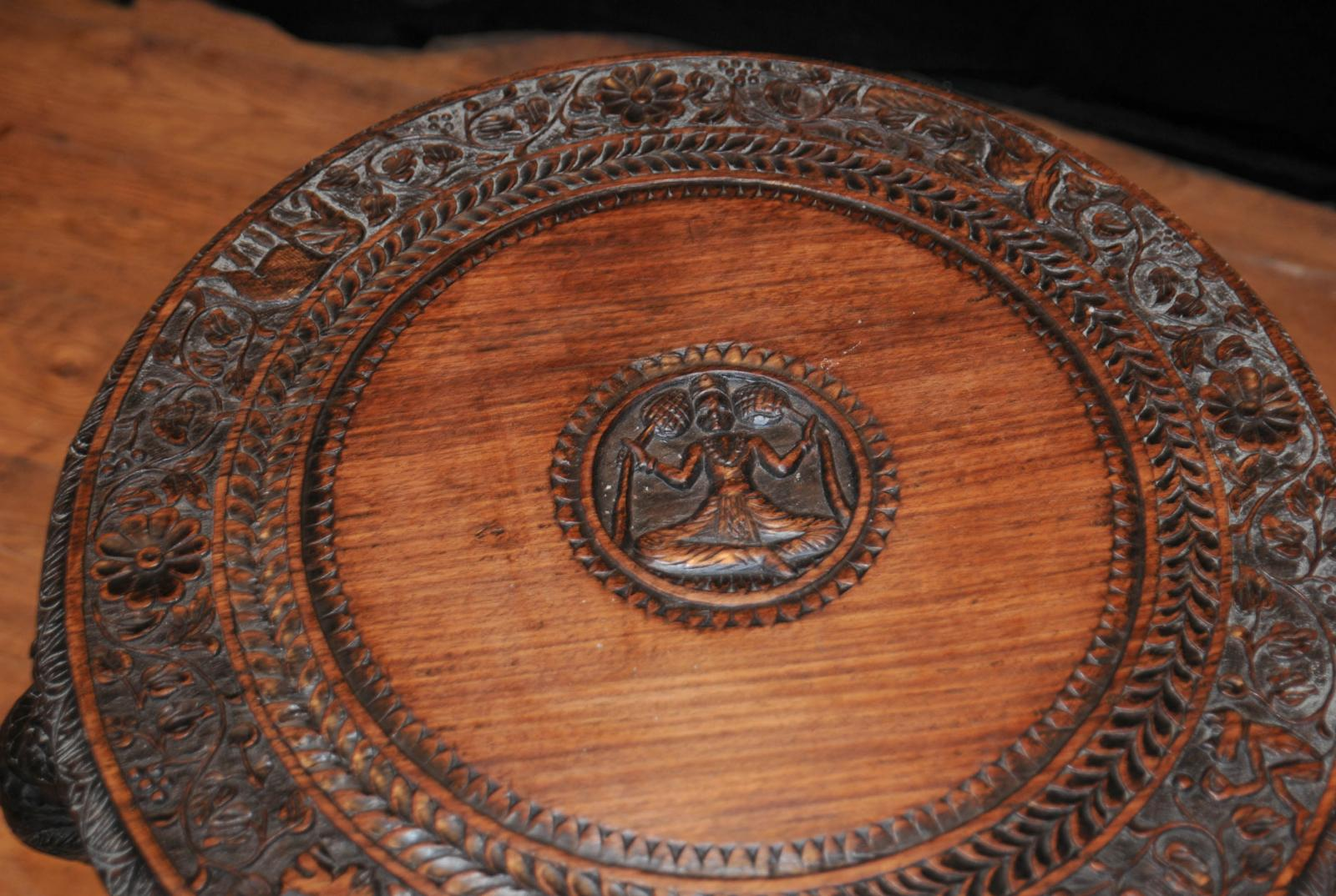 About Antique Burmese Hand Carved Elephant Side Table Coffee Tables