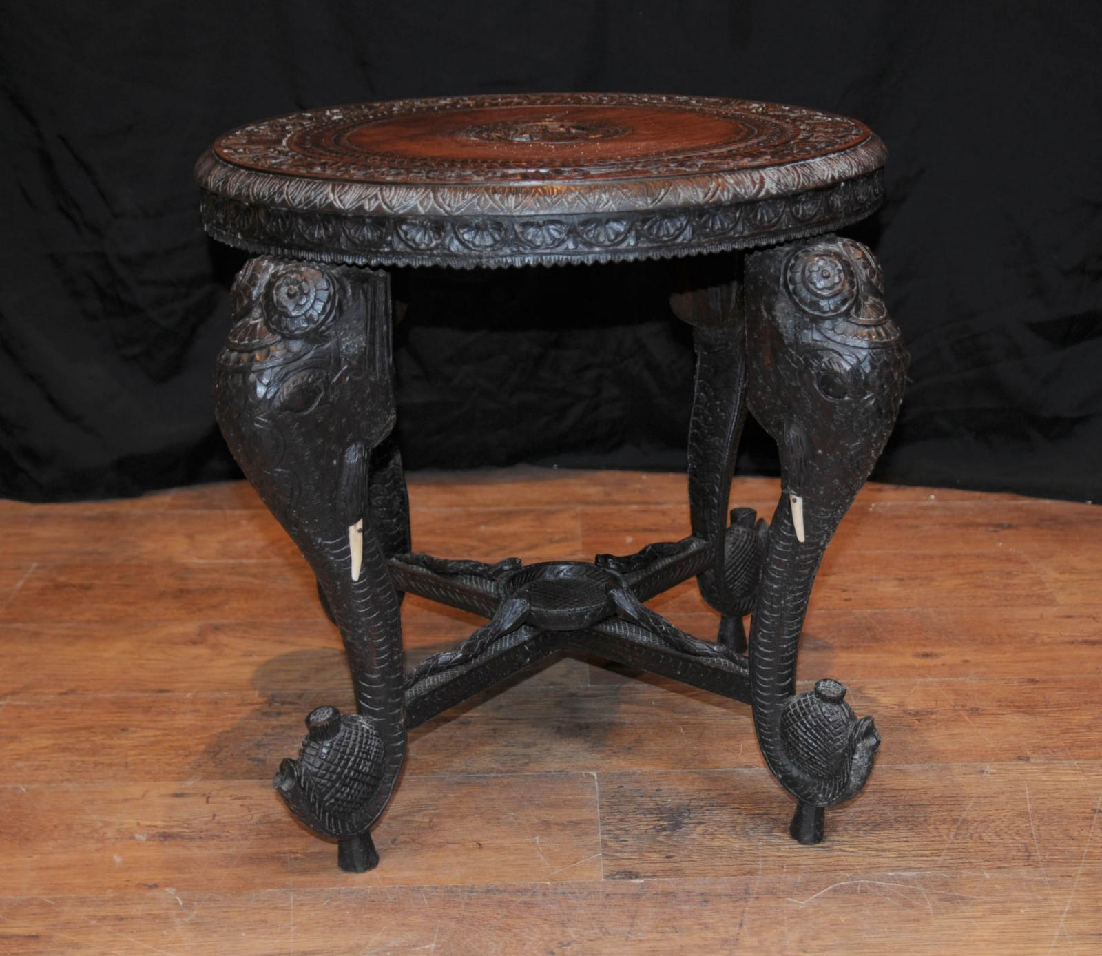 Antique burmese hand carved elephant side table coffee tables ebay Carved coffee table