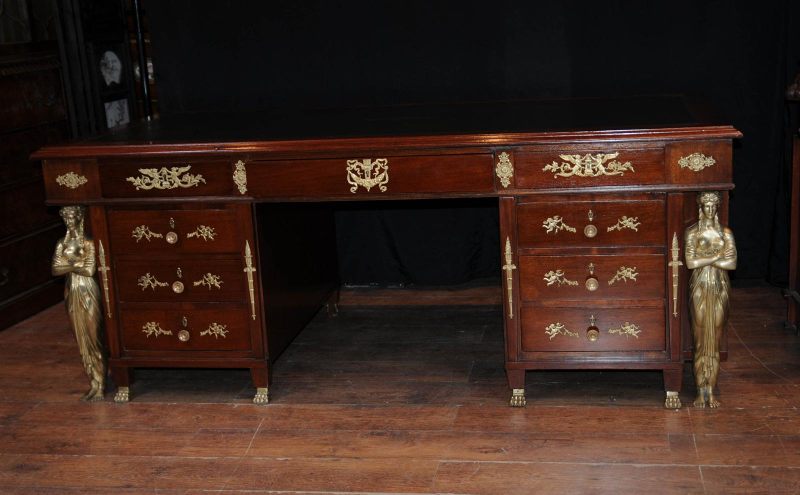 antique french empire pedestal desk writing table bureau ebay. Black Bedroom Furniture Sets. Home Design Ideas
