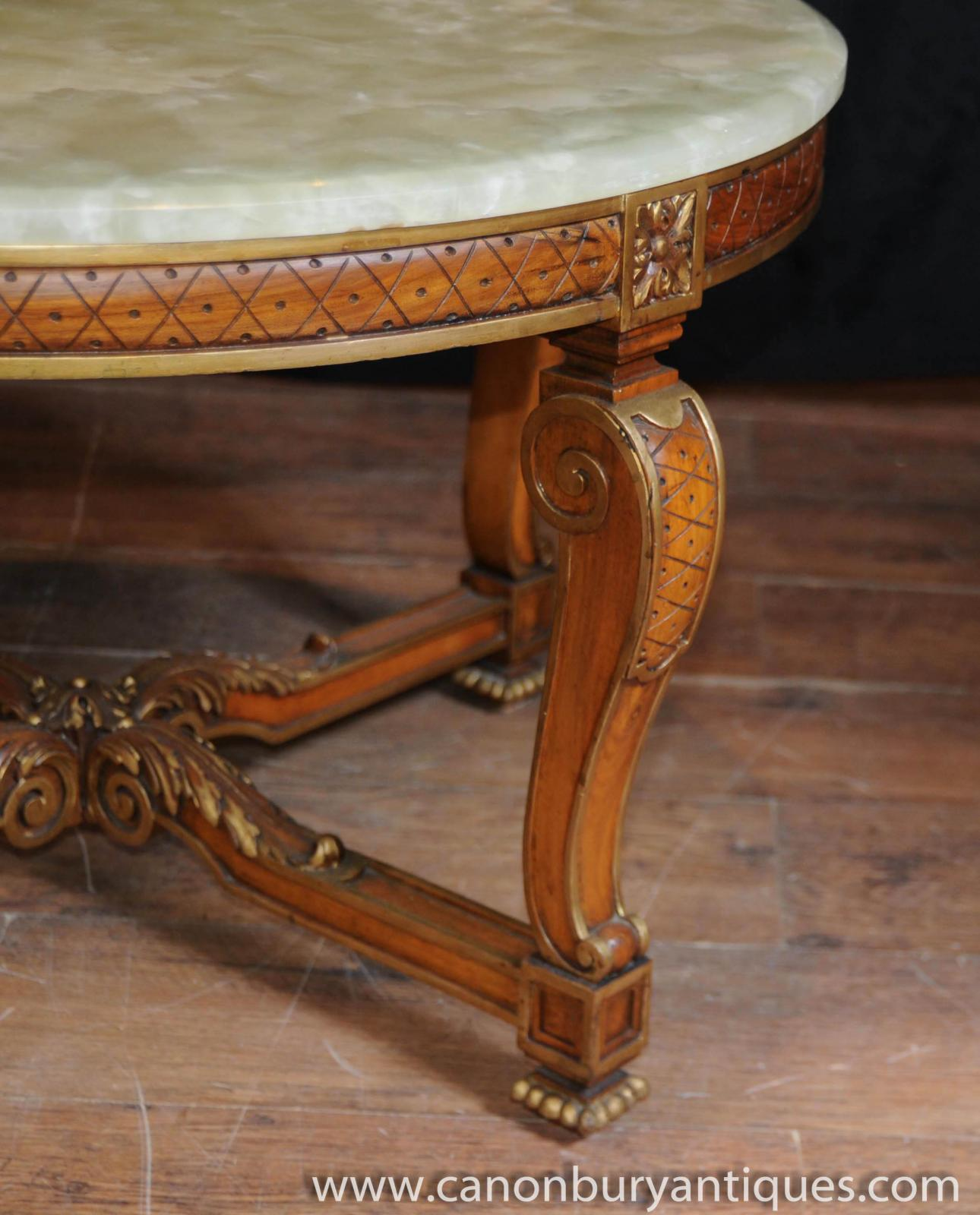 French Victorian Coffee Table: Antique French Walnut And Onyx Coffee Table Cocktail Tables