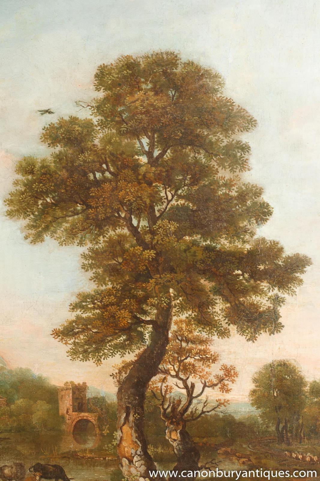 Antique Italian Tuscan Landscape Oil Painting 18th Century