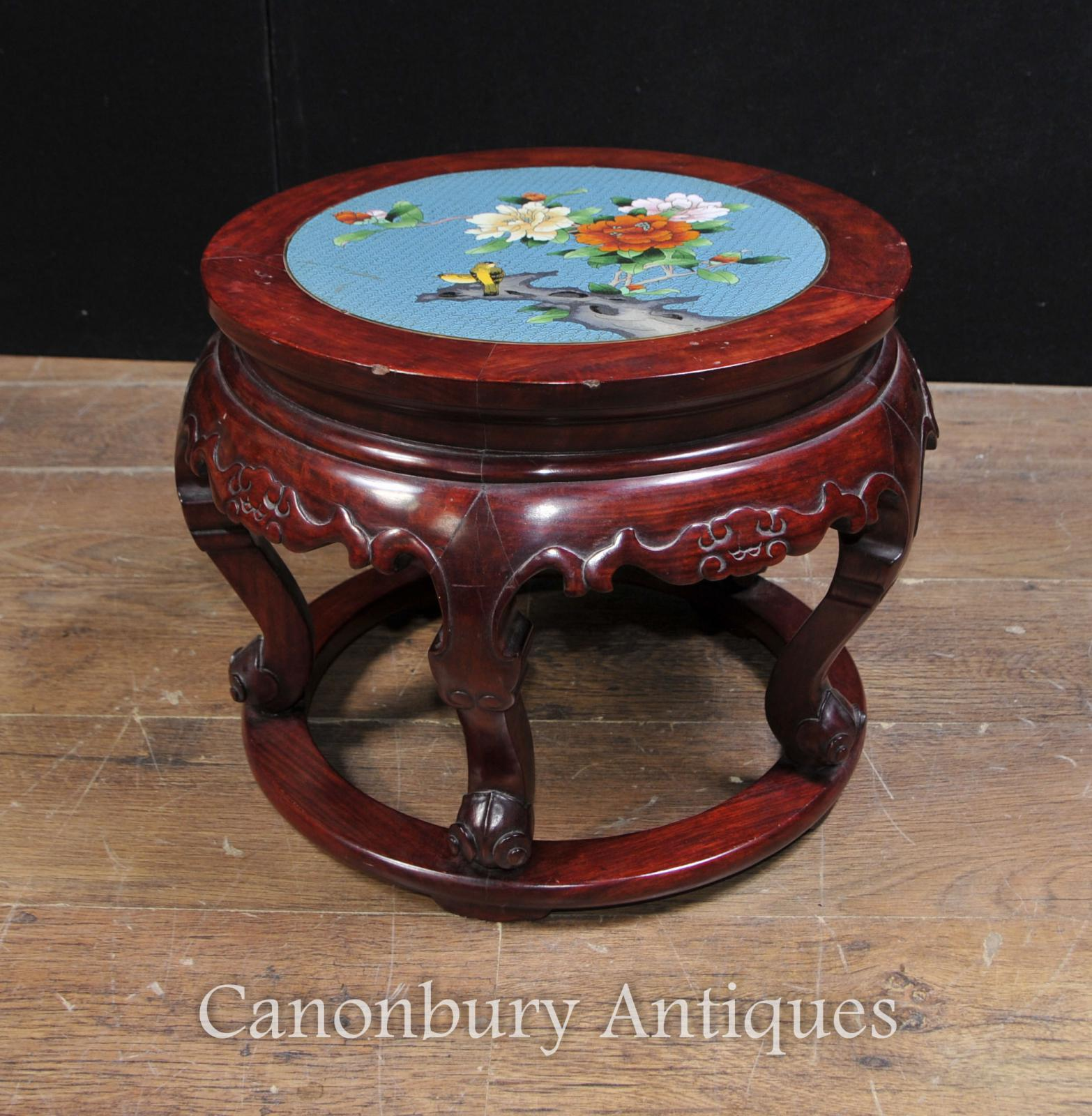 Antique chinese cloisonne hardwood pedestal stand table ebay for Cloison stand