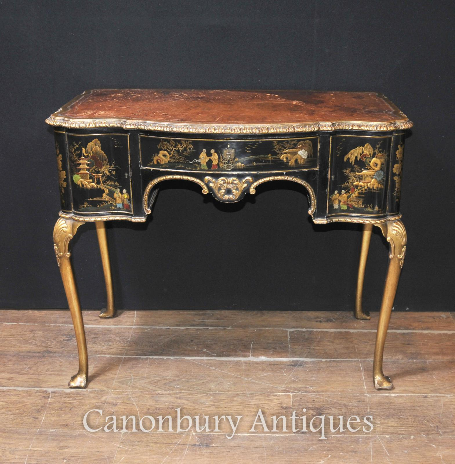 Antique english chinoiserie ladies writing desk table