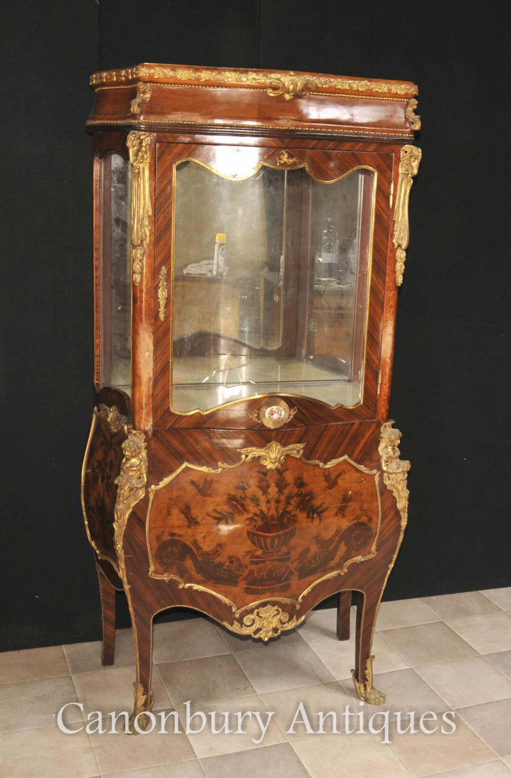 Piece Description.   Gorgeous Antique French Empire Style Glass Display  Cabinet With Marquetry Inlay