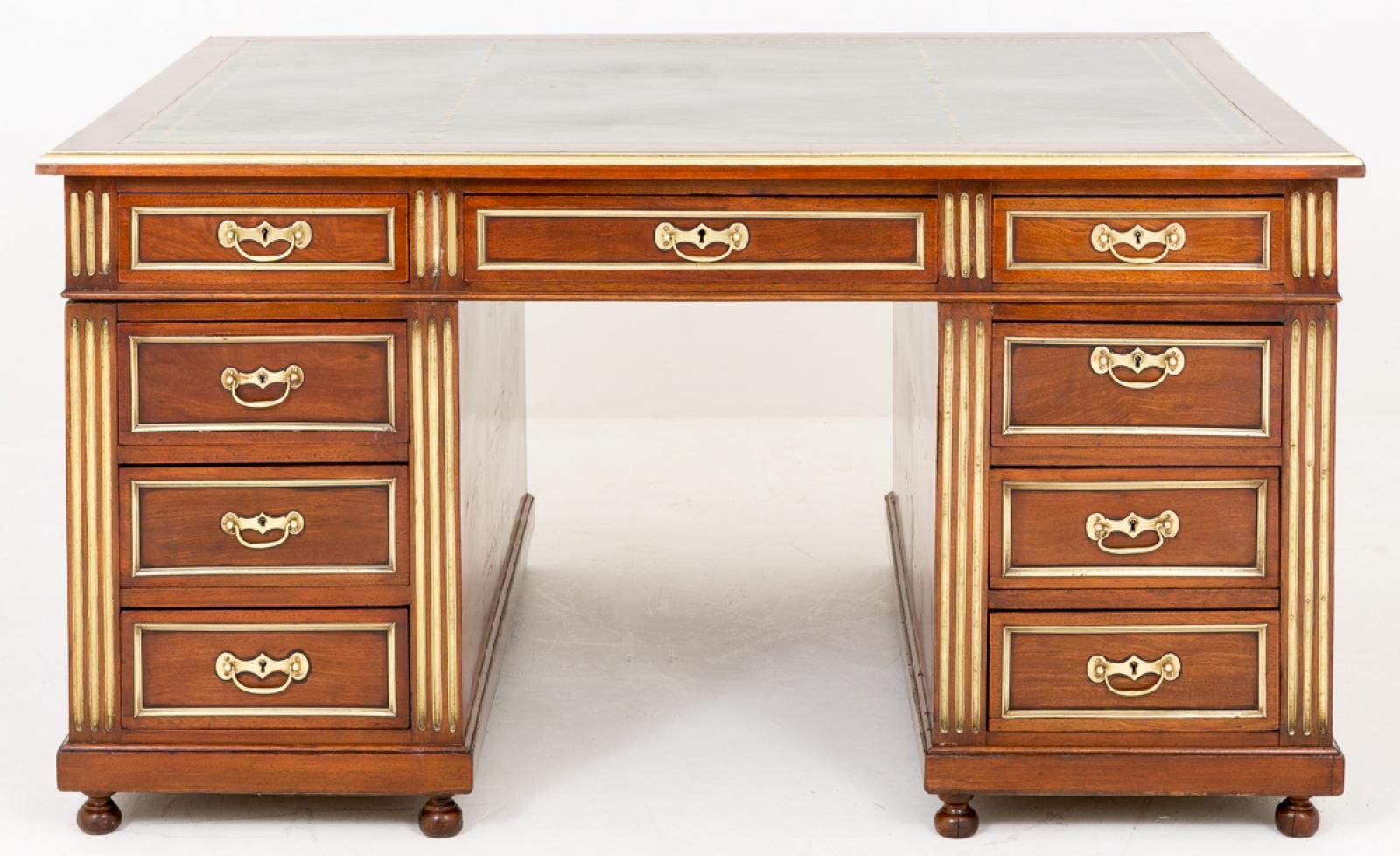 Piece Description A Superb French Mahogany And Gilt 18 Drawer Partners Desk