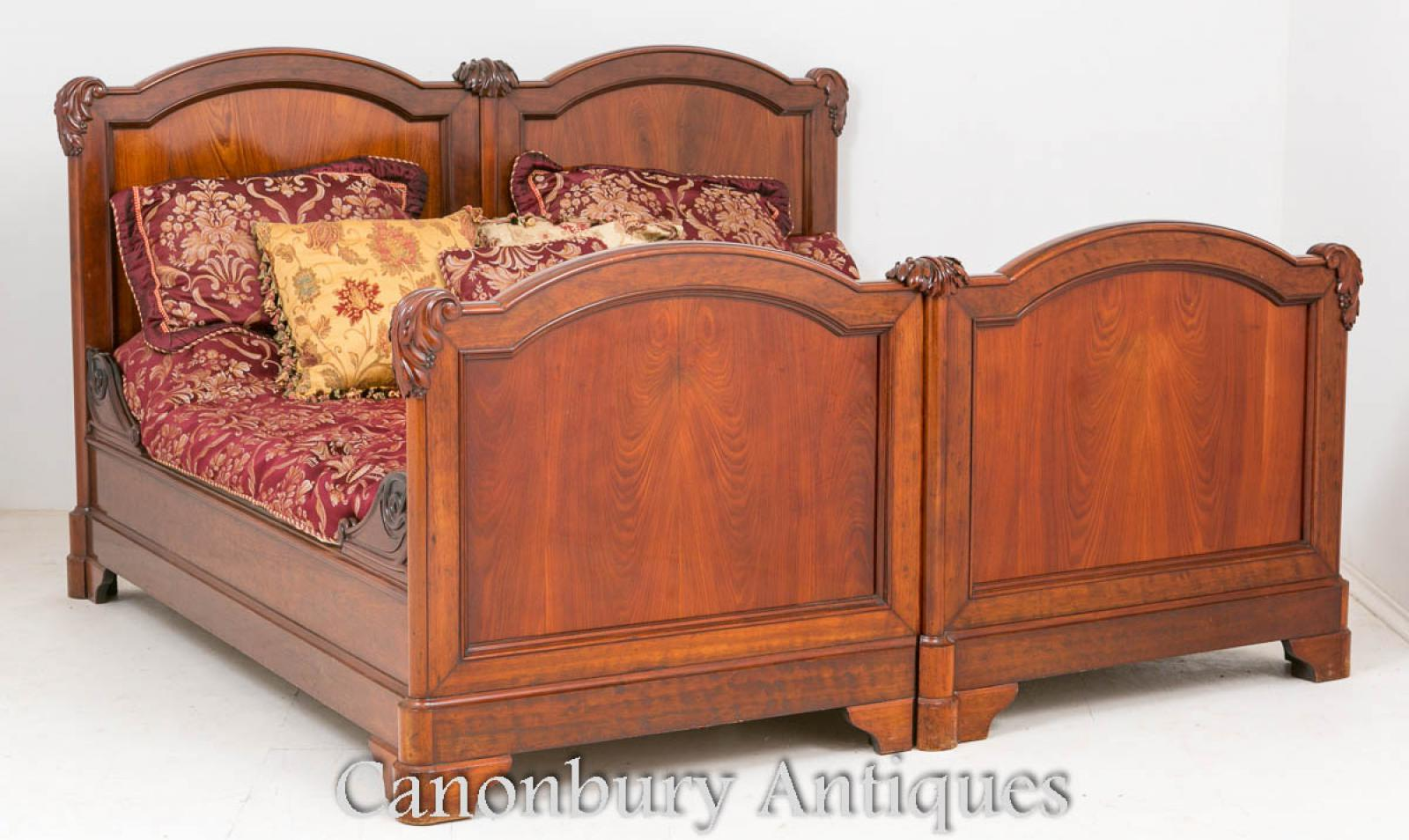 Antique French Mahogany Double Bed Carved Bedroom Furniture 1870 Ebay