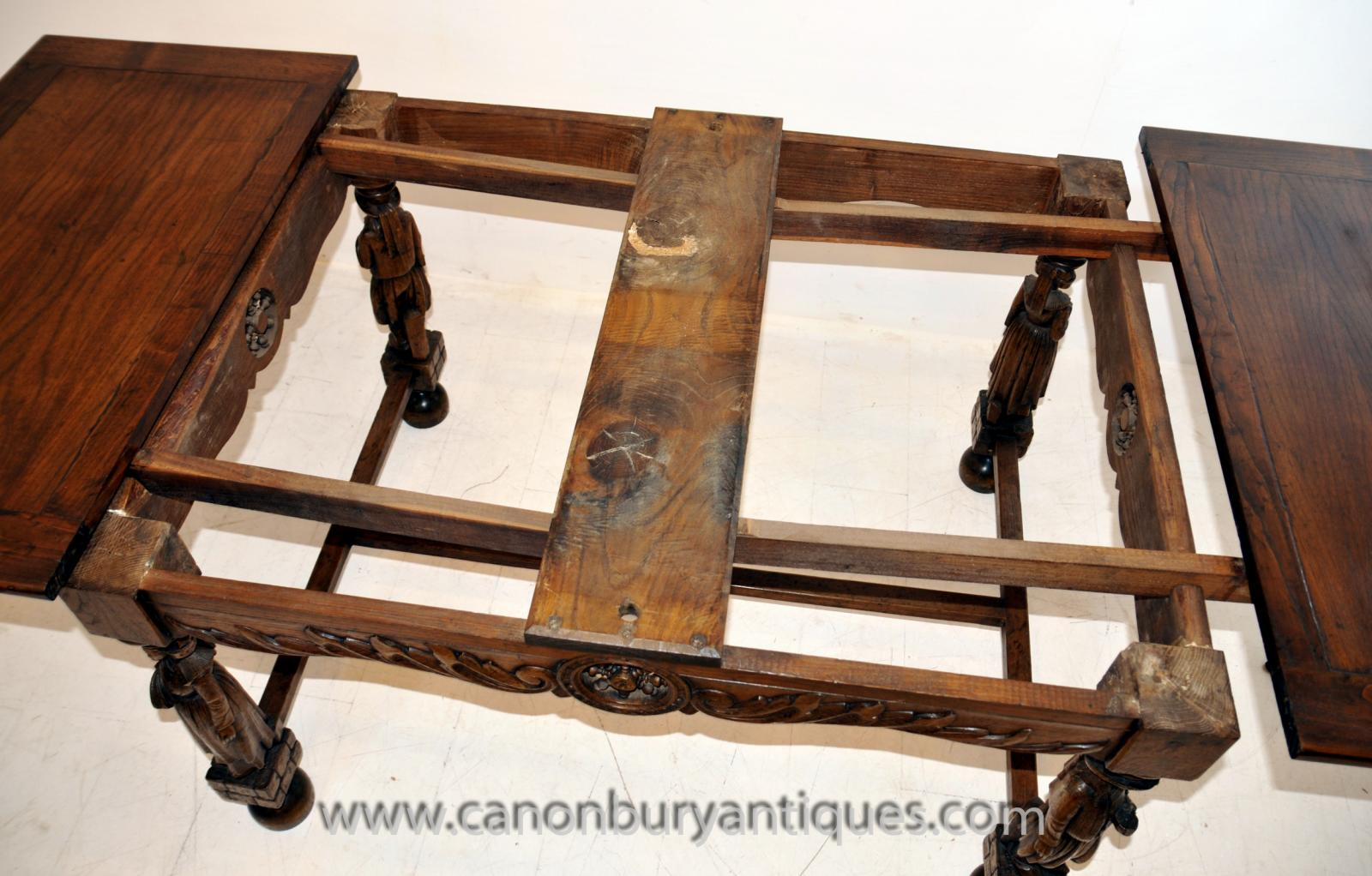Antique French Provincial Extending Oak Dining Table Carved Legs Refectory