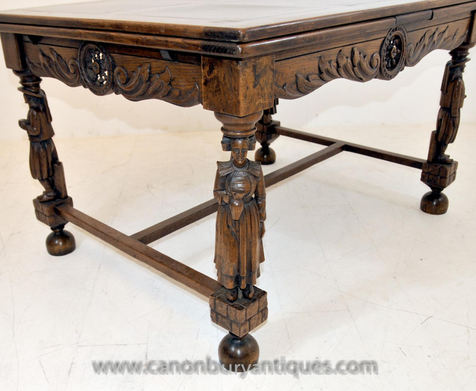 Antique french provincial extending oak dining table carved legs refectory table ebay - Antique french dining tables ...