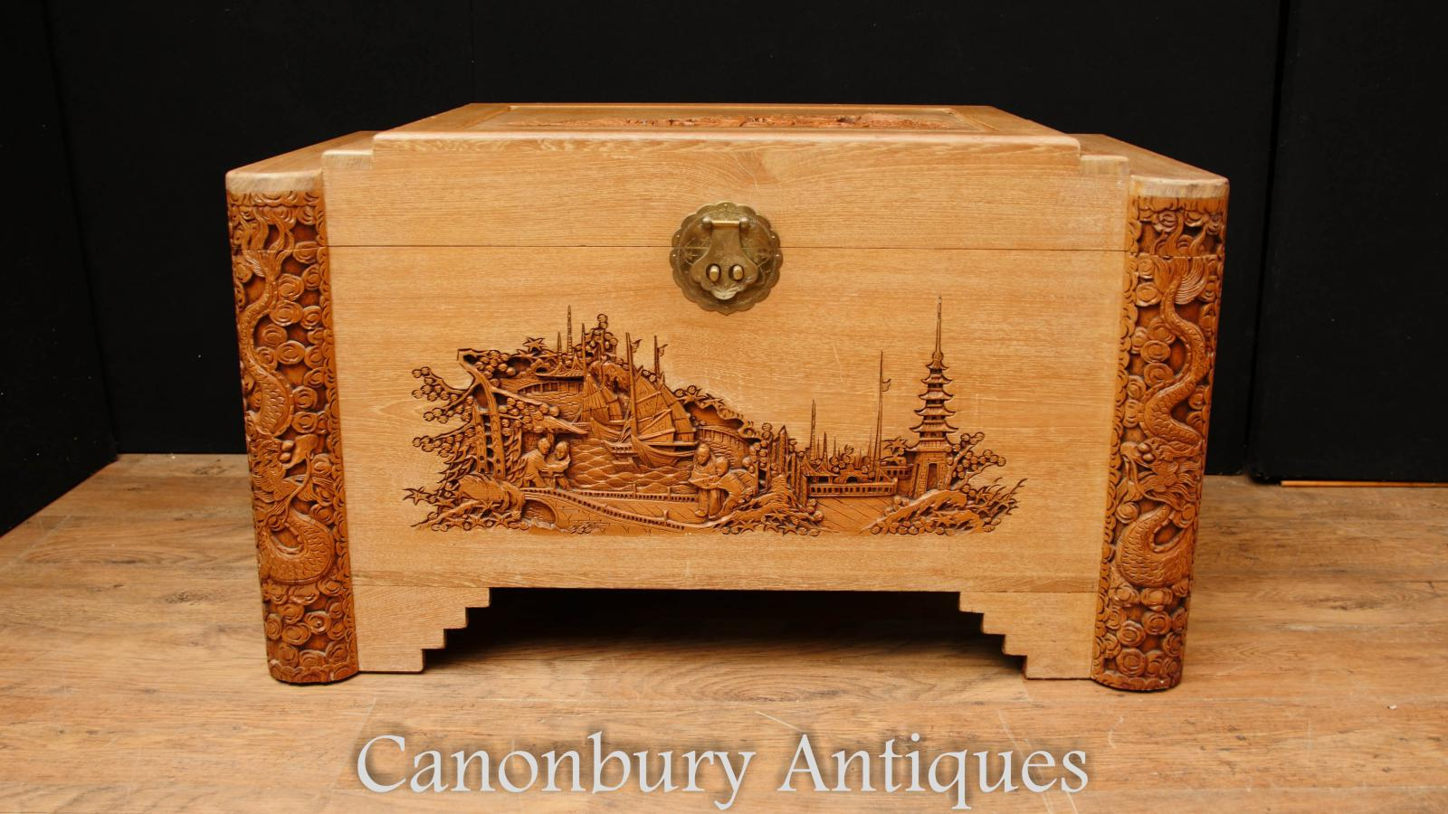 Antique hand carved camphor wood chest trunk hong kong for Oriental furniture hong kong