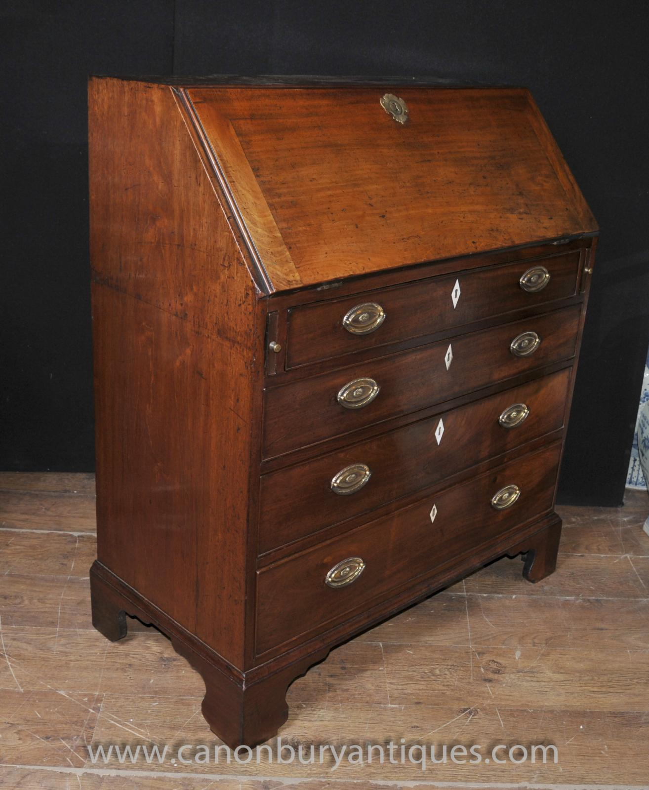 antique mahogany georgian bureau desk chest drawers. Black Bedroom Furniture Sets. Home Design Ideas
